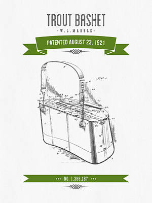 1921 Trout Basket Patent Drawing - Green Art Print by Aged Pixel