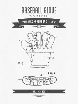 Baseball Glove Mixed Media - 1922 Baseball Glove Patent Drawing by Aged Pixel