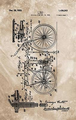 Bicycle Mixed Media - 1922 Bicycle Patent by Dan Sproul