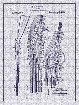 1922 Browning Firearm Patent Art Print by Barry Jones
