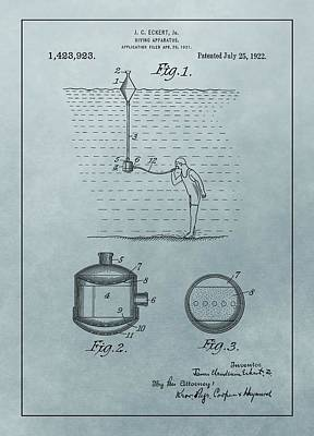 Breathing Mixed Media - 1922 Diving Apparatus Patent Illustration by Dan Sproul
