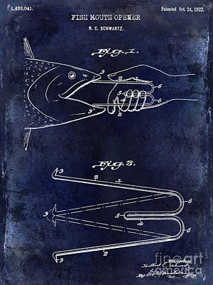 Smallmouth Bass Photograph - 1922 Fish Mouth Opener Patent Drawing Blue by Jon Neidert