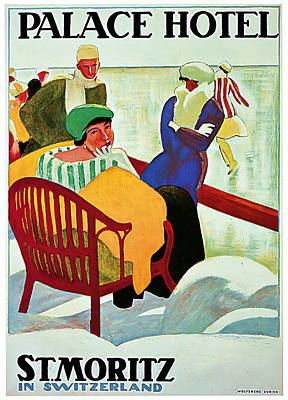 Switzerland Mixed Media - 1922 Palace Hotel St Moritz - Vintage Travel Art by Presented By American Classic Art