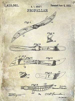 Aeronautical Photograph - 1922 Propeller Patent Drawing by Jon Neidert
