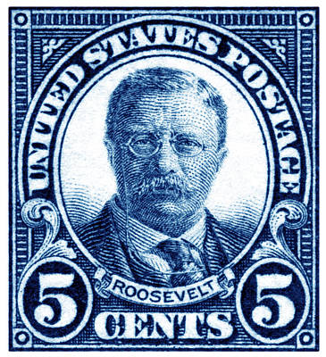 Politics Painting - 1922 Theodore Roosevelt Stamp by Historic Image