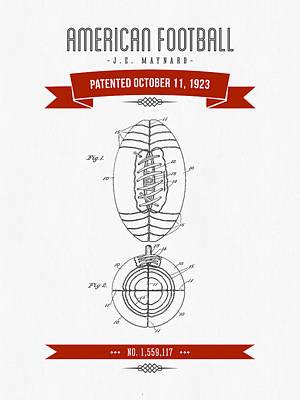 1923 American Football Patent Drawing - Retro Red Art Print