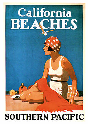Mixed Media - 1923 California Beaches - Vintage Travel Art by Presented By American Classic Art