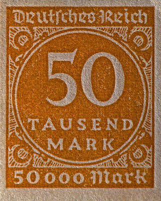 Photograph - 1923 Fifty Thousand Mark Weimar Republic Stamp by Bill Owen