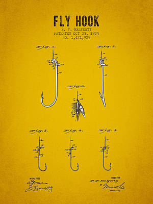 1923 Fly Hook Patent - Yellow Brown Art Print