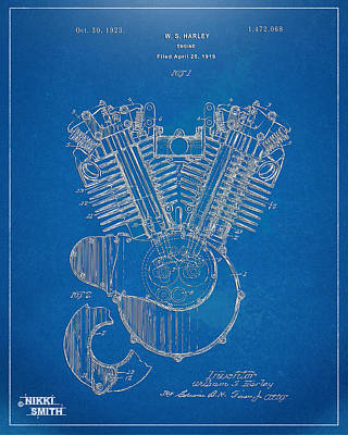 1923 Harley Davidson Engine Patent Artwork - Blueprint Print by Nikki Smith