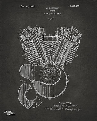 Inventor Drawing - 1923 Harley Engine Patent Art - Gray by Nikki Marie Smith