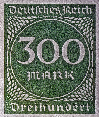 Photograph - 1923 Three Hundred Mark Weimar Republic Stamp by Bill Owen