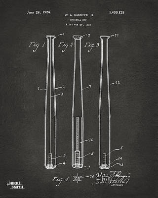 Bat Digital Art - 1924 Baseball Bat Patent Artwork - Gray by Nikki Marie Smith