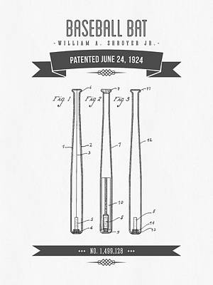 Sports Royalty-Free and Rights-Managed Images - 1924 Baseball Bat Patent Drawing by Aged Pixel