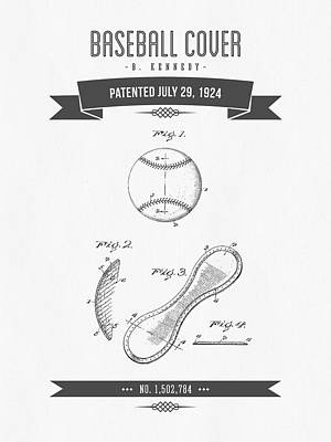 Baseball Glove Mixed Media - 1924 Baseball Cover Patent Drawing by Aged Pixel