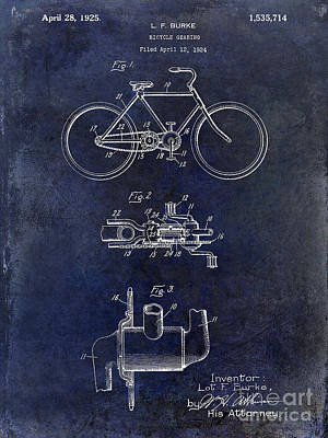 Schwinn Wall Art - Photograph - 1924 Bicycle Patent Drawing Blue by Jon Neidert