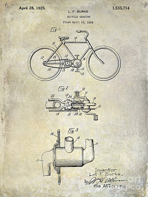 Armstrong Photograph - 1924 Bicycle Patent Drawing by Jon Neidert