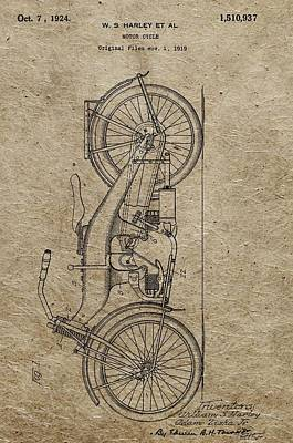 Motorcycle Drawing - 1924 Harley Davidson Patent by Dan Sproul