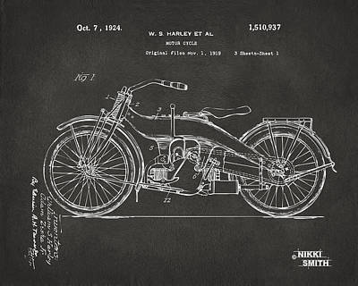 1920 Drawing - 1924 Harley Motorcycle Patent Artwork - Gray by Nikki Marie Smith