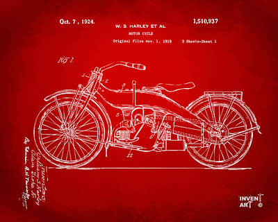 1924 Harley Motorcycle Patent Artwork Red Print by Nikki Marie Smith