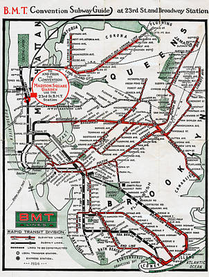 Photograph - 1924 Map Brooklyn Manhattan Transit by BMT Lines