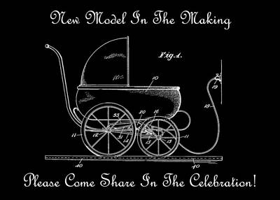1924 Patent Art Koch Baby Carriage 1 Bw Print by Lesa Fine