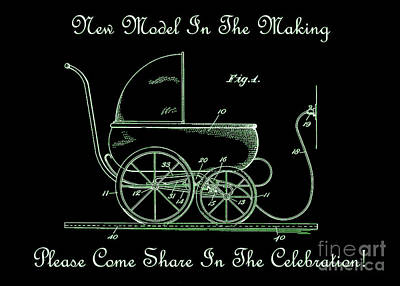 1924 Patent Art Koch Baby Carriage Green Art Print by Lesa Fine