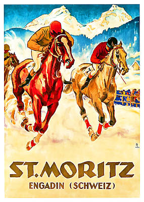 Mixed Media - 1924 St Moritz - Vintage Travel Art by Presented By American Classic Art