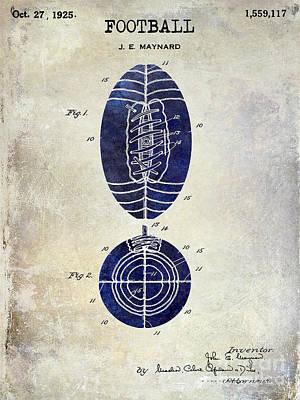 1925 Football Patent Drawing 2 Tone Art Print