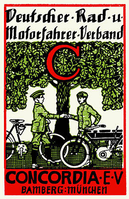 Painting - 1925 German Bicycle And Motorcycle Club by Historic Image