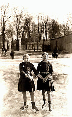 Figure Skating Photograph - 1925 Girlfriends Ice Skating by Historic Image