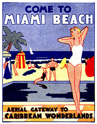 Painting - 1935 Miami Beach Travel Poster by Historic Image