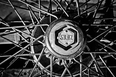 Photograph - 1925 Stutz Series 695h Speedway Six Torpedo Tail Speedster Wheel Emblem -0212bw by Jill Reger