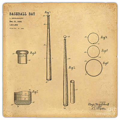 Baseball Royalty-Free and Rights-Managed Images - 1926 Baseball Bat Patent Art Middlekauf 1 by Nishanth Gopinathan