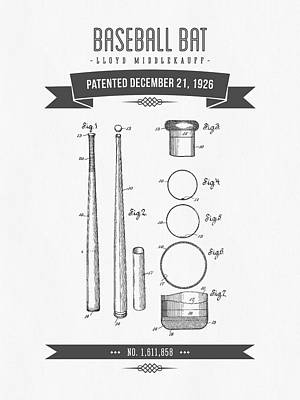 Softball Mixed Media - 1926 Baseball Bat Patent Drawing by Aged Pixel