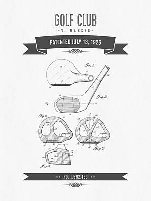 Golf Digital Art - 1926 Golf Club Patent Drawing - Retro Gray by Aged Pixel