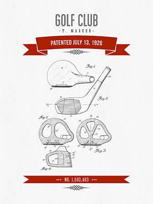 Golf Digital Art - 1926 Golf Club Patent Drawing - Retro Red by Aged Pixel