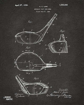 Golf Drawing - 1926 Golf Club Patent Artwork - Gray by Nikki Marie Smith