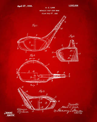 Cave Digital Art - 1926 Golf Club Patent Artwork - Red by Nikki Marie Smith