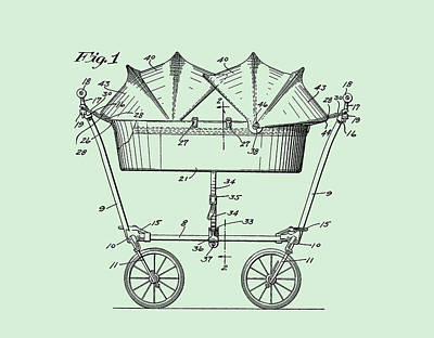 Digital Art - 1927 Baby Twin Baby Carriage-green 2 by Lesa Fine