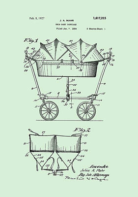 Digital Art - 1927 Baby Twin Baby Carriage-green by Lesa Fine