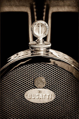 Bugatti Vintage Car Photograph - 1927 Bugatti Replica Hood Ornament - Emblem by Jill Reger