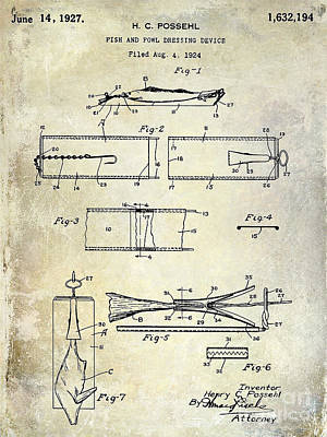 1927 Fish And Fowl Cleaning Device Patent Art Print by Jon Neidert