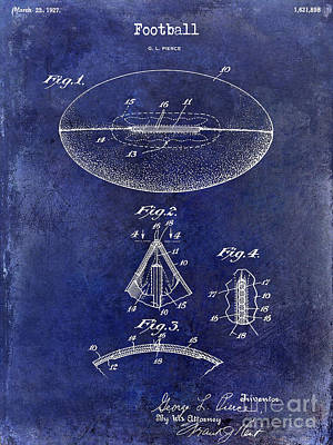 Baltimore Photograph - 1927 Football Patent Drawing Blue by Jon Neidert