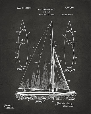 1927 Sailboat Patent Artwork - Blueprint Art Print by Nikki Marie Smith