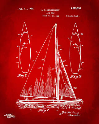 Sailor Digital Art - 1927 Sailboat Patent Artwork - Red by Nikki Marie Smith