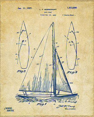1927 Sailboat Patent Artwork - Vintage Art Print by Nikki Marie Smith
