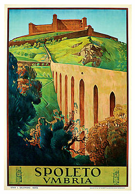 Mixed Media - 1927 Spoleto Vintage Travel Art by Presented By American Classic Art