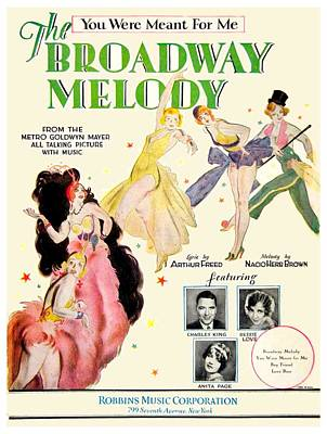 Page Ave Digital Art - 1928 - You Were Meant For Me - Broadway Melody - Moive Sheet Music - Color by John Madison