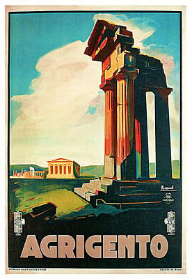 Mixed Media - 1928 Agrigento - Vintage Travel Art by Presented By American Classic Art